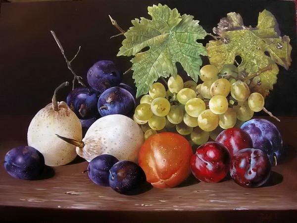 Ф.Тулок.Виноград, сливы и груши