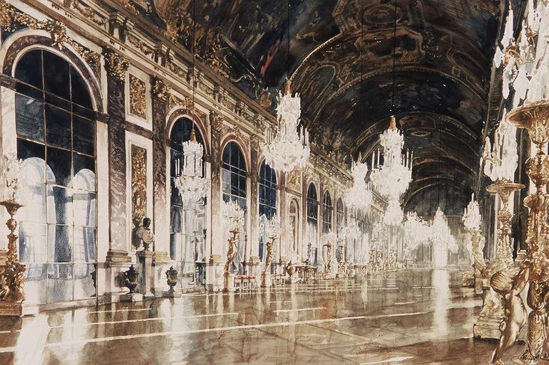 arhitektor-akvarelist-paul-dmoch-galerie-des-glaces-versailles