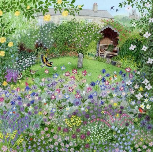 garden_with_aqualegias_and_goldfinch_yapfiles-ru