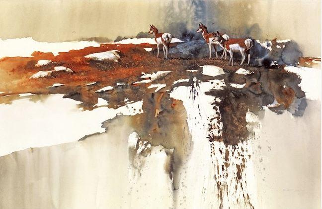 Morten-E.-Solberg.-ZHivotnyie-akvarelyu.-Wyoming-Winter
