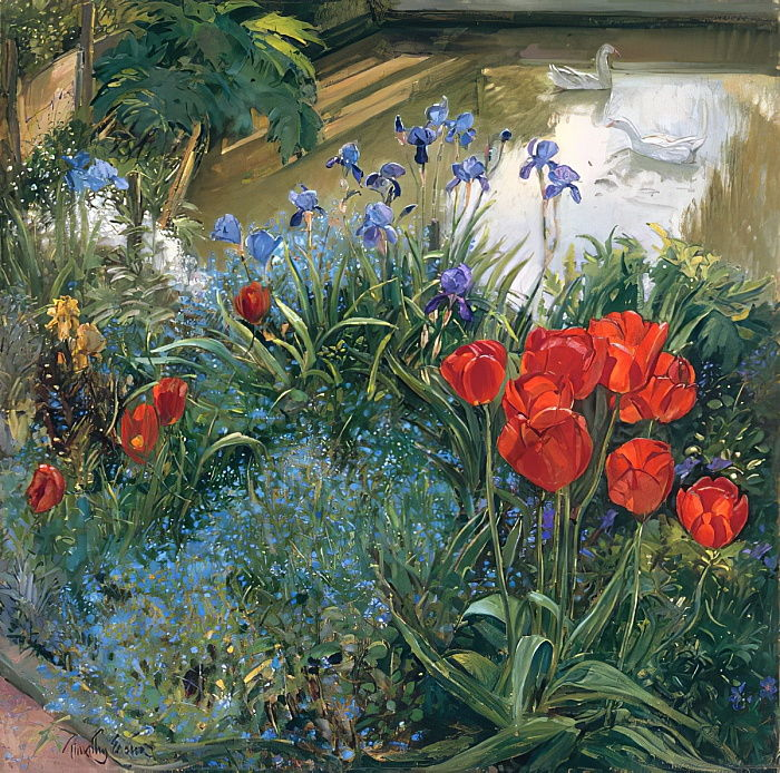 timothy-easton-red-tulips-and-geese-meisterdrucke-145822