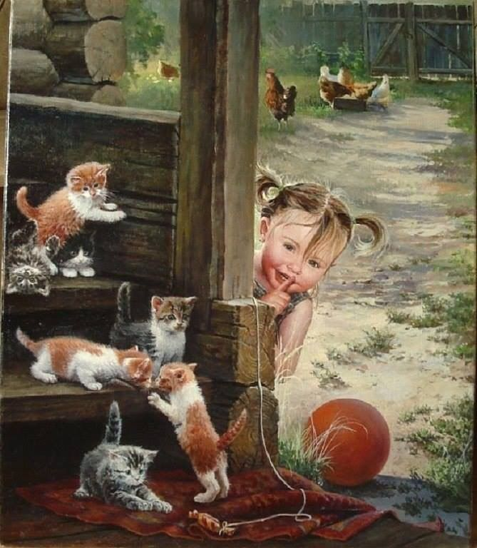 da52a04a74ecec7eed2f6feb731d4cf8-art-children-cat-art