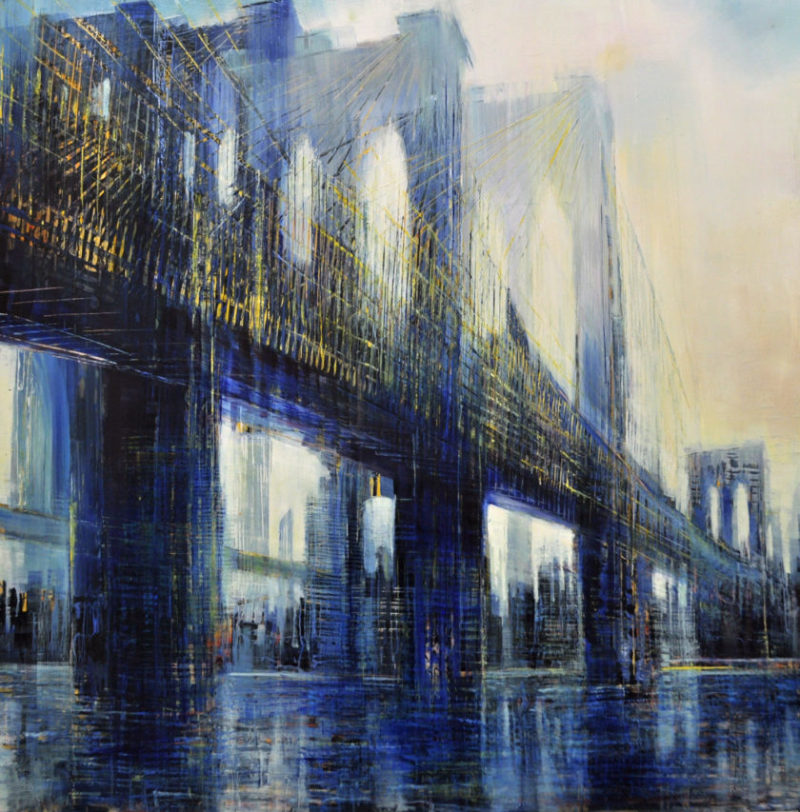 david-dunlop-arranged-in-blue-brooklyn-bridge-oil-on-aluminum-36-x-36-inches-840x853