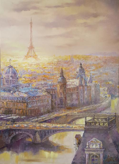 Painting cityscape oil, Paris painting, Cityscape painting, City