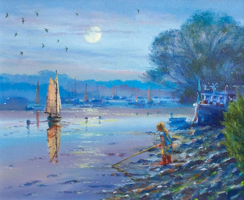 original-oil-painting-on-canvas-exploring-in-the-silvery-light-by-british-artist-ted-dyer