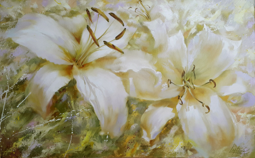 Painting oil flowers lilies
